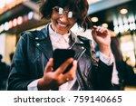 cheerful brunette female in... | Shutterstock . vector #759140665