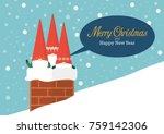 group of little santa in... | Shutterstock .eps vector #759142306