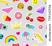 girl fashion stickers patches... | Shutterstock .eps vector #759142936