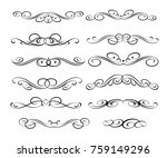 calligraphic elements design... | Shutterstock .eps vector #759149296