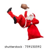 funny santa claus falls with a... | Shutterstock . vector #759150592