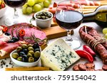 food on table. wine snack set ... | Shutterstock . vector #759154042