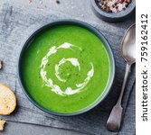 broccoli  spinach cream soup in ... | Shutterstock . vector #759162412