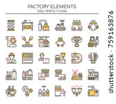 factory elements   thin line...   Shutterstock .eps vector #759163876