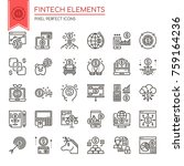 fintech elements   thin line... | Shutterstock .eps vector #759164236