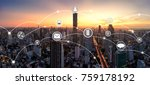 city and network connection... | Shutterstock . vector #759178192