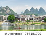 scenic view of tourist boats on ...   Shutterstock . vector #759181702