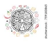 pizza slice emblem. vector hand ... | Shutterstock .eps vector #759183865