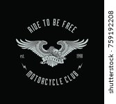 eagle badge for motorcycle club   Shutterstock .eps vector #759192208