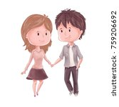 cute couple. man holds woman... | Shutterstock .eps vector #759206692