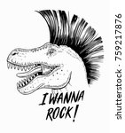 rock fan dinosaur vector ... | Shutterstock .eps vector #759217876