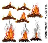 set of cartoon bonfires....   Shutterstock .eps vector #759230146