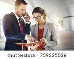 caucasian man and woman... | Shutterstock . vector #759235036