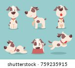 Stock vector vector illustration of cute and funny cartoon puppies 759235915