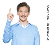 portrait of cheerful teen boy... | Shutterstock . vector #759242908
