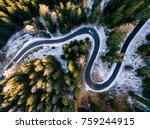 aerial view of snowy forest... | Shutterstock . vector #759244915
