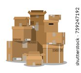 pile of stacked sealed goods... | Shutterstock . vector #759247192