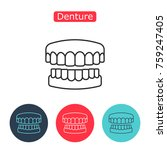 denture icon. dental prosthesis ... | Shutterstock .eps vector #759247405