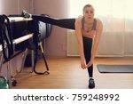 fitness woman doing exercises | Shutterstock . vector #759248992