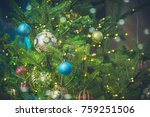 christmas ornaments on the... | Shutterstock . vector #759251506