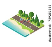 family cycling on countryside... | Shutterstock .eps vector #759251956