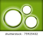 Green striped background light with three portholes - stock photo