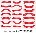 red ribbons collection....   Shutterstock .eps vector #759257542