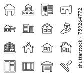 thin line icon set   home ... | Shutterstock .eps vector #759264772