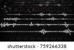 digital audio waves on screen.... | Shutterstock . vector #759266338