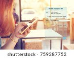 woman chatting with automatic... | Shutterstock . vector #759287752