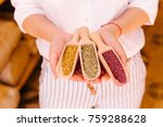 woman's hands holding wooden... | Shutterstock . vector #759288628