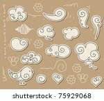 cute doodle with clouds  angel... | Shutterstock .eps vector #75929068
