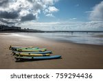 surfboards on the beach of les... | Shutterstock . vector #759294436