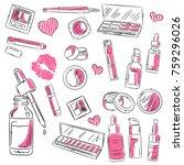watercolor sketch of cosmetics... | Shutterstock .eps vector #759296026