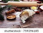 baking ingredients for homemade ... | Shutterstock . vector #759296185