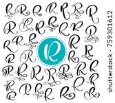 set letter r. hand drawn vector ... | Shutterstock .eps vector #759301612
