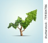tree grows up in arrow shape... | Shutterstock . vector #759304786