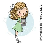 Cute Vector Girl With A Book