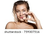 beautiful woman with magnifying ...   Shutterstock . vector #759307516