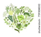 green vegetables  spices and... | Shutterstock .eps vector #759308032
