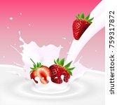 flowing milk splash with... | Shutterstock . vector #759317872