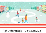 snowy winter park poster with... | Shutterstock .eps vector #759325225