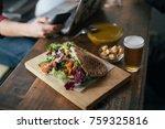 curry chicken sandwich in pita...   Shutterstock . vector #759325816