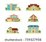set of modern cottage house ... | Shutterstock .eps vector #759327958
