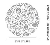 cakes and cookies banner with... | Shutterstock .eps vector #759331825