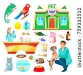pet shop with fluffy cat ... | Shutterstock .eps vector #759332512
