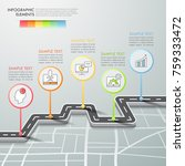 road way infographic template 5 ... | Shutterstock .eps vector #759333472