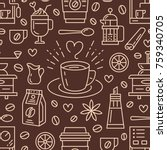 seamless pattern of coffee ... | Shutterstock .eps vector #759340705