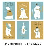 christmas set  hand drawn style ... | Shutterstock .eps vector #759342286