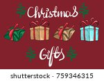 set of graphic gift boxes for... | Shutterstock .eps vector #759346315